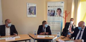 Le Secrétaire d'État en charge de la protection de la santé des salariés face au COVID19 en visite dans un SSTI de la Manche